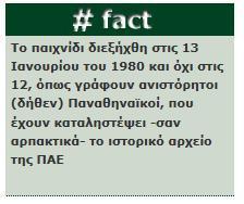 Το παιχνίδι διεξήχθη στις 13 Ιανουαρίου του 1980