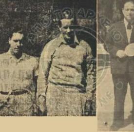Ο Ματζάρογλου και τα αγαπημένα του σπορ: αριστερά κρατώντας ρακέτα του τένις και δεξιά του πινγκ πονγκ.